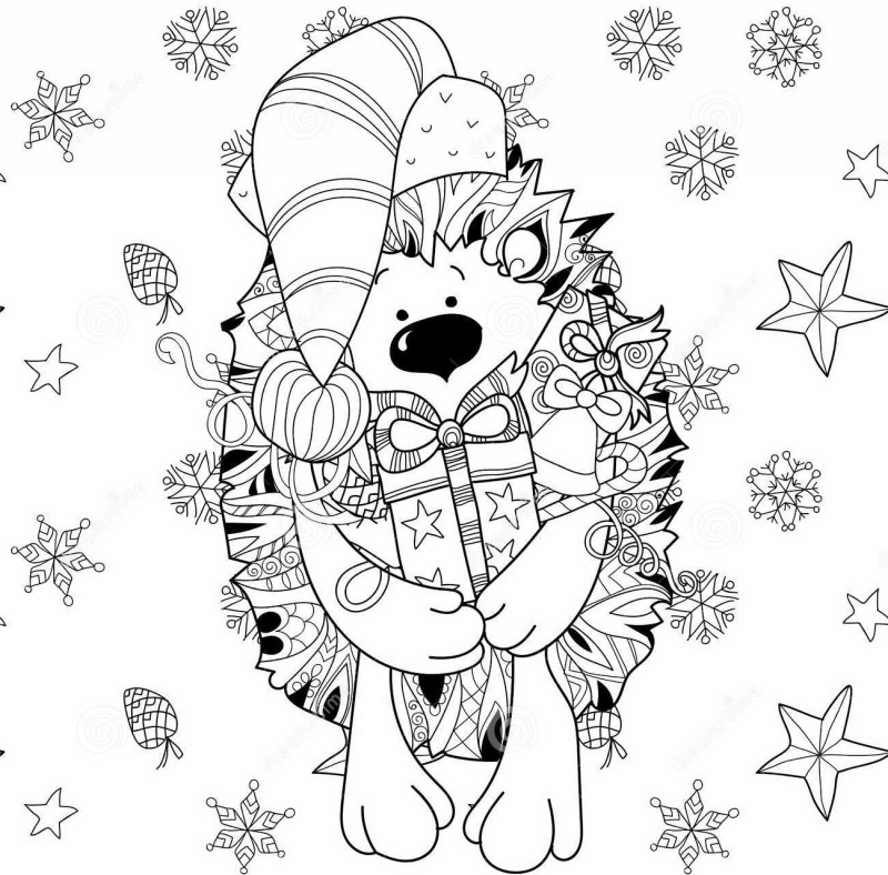 Outline christmas hedgehog in festal cap with present tattoo design