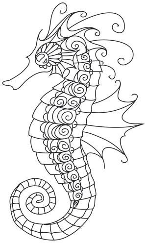Outline curl-patterned seahorse tattoo design