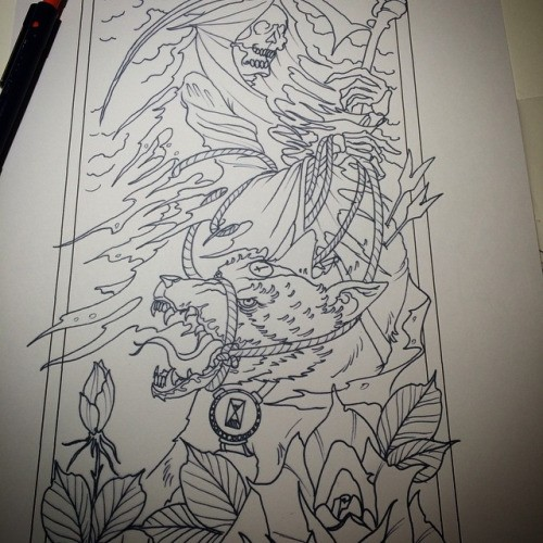 Outline death keeping a roped bear with rose flowers tattoo design