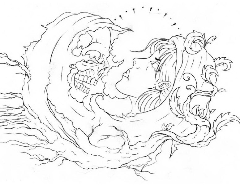 Outline death wanting to take girls soul tattoo design