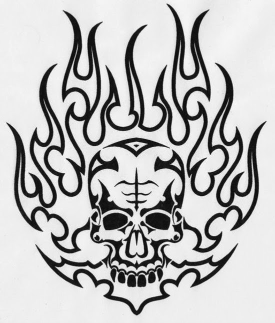 Outline demon skull in the flame tattoo design