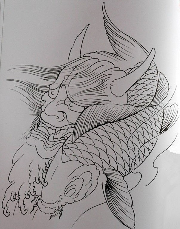 Outline devil head and swimming koi fish tattoo design