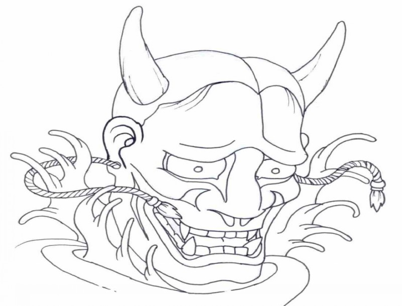Outline devil with ropes in earrings tattoo design
