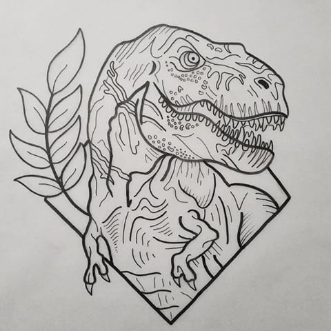 Outline dinosaur with ...