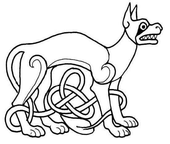 Outline dog with celtic knot tattoo design