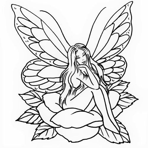 Outline dreaming fairy sitting on rose bud tattoo design