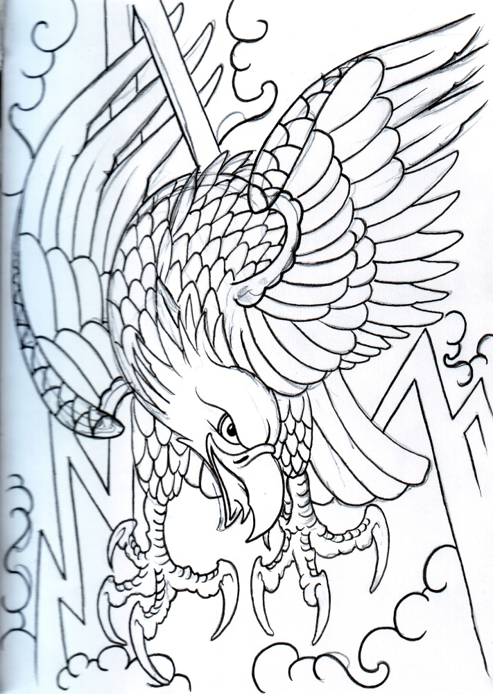 Outline eagle on lightnings and smoke background tattoo design by Viking Tattoo