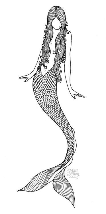 Outline faceless mermaid tattoo design Tattooimages