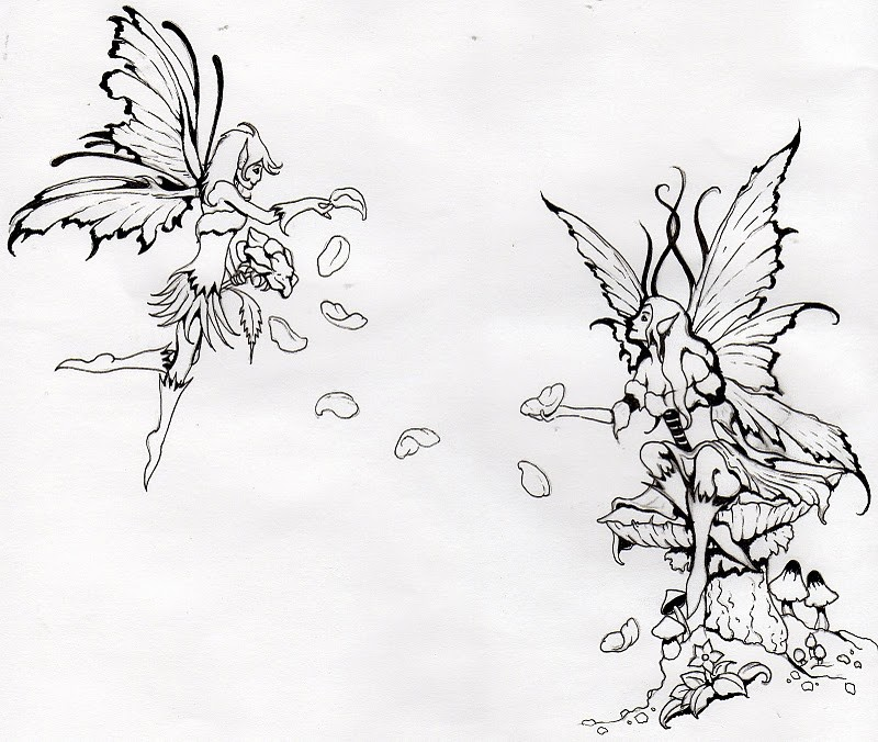 Outline fairy lovers and falling petals tattoo design