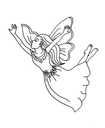 Outline fairy with closed eyes tattoo design