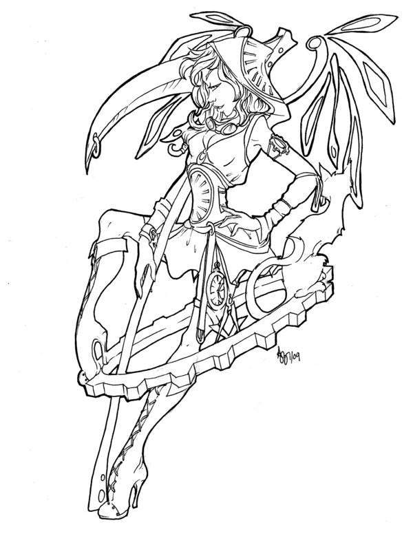 Outline female steampunk death tattoo design by Asher Bee