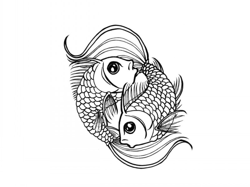 Outline fish couple swimming in circle tattoo design