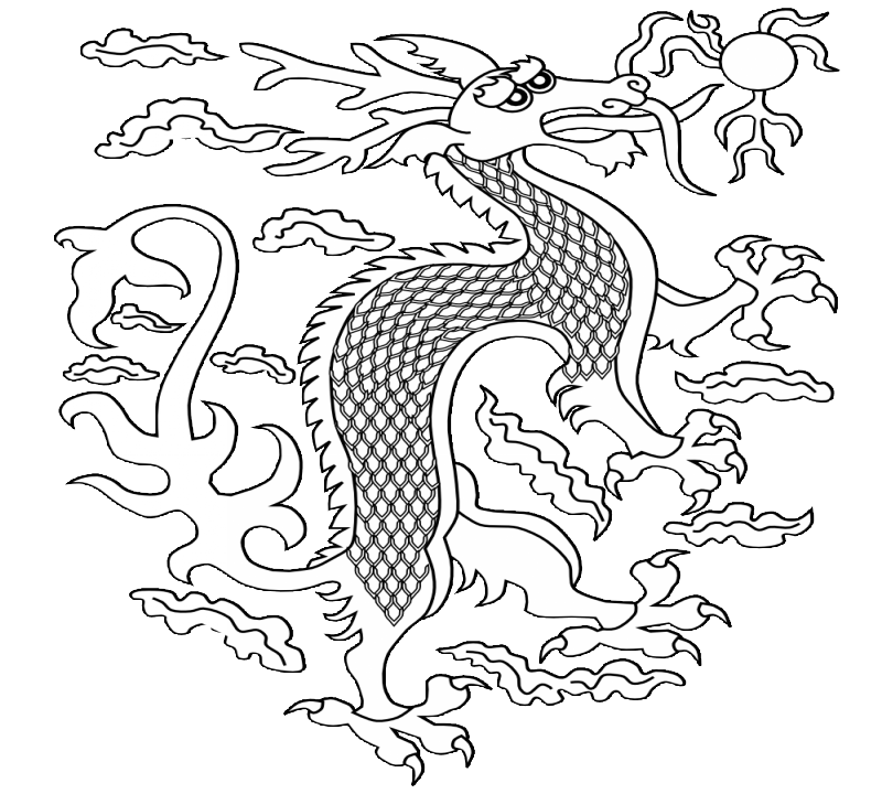 Outline folk-style chinese dragon and shining sun tattoo design