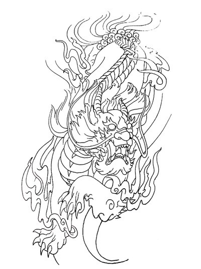 Outline foo dog hunting in fire tattoo design
