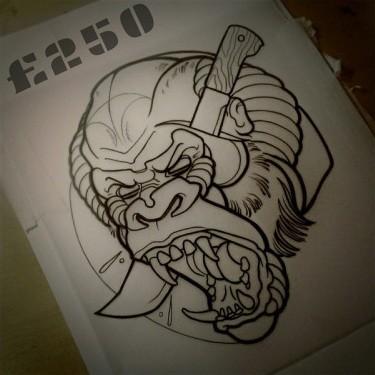 Outline gorilla killed with dagger tattoo design