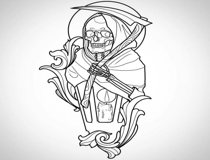 Outline half death half lamp tattoo design
