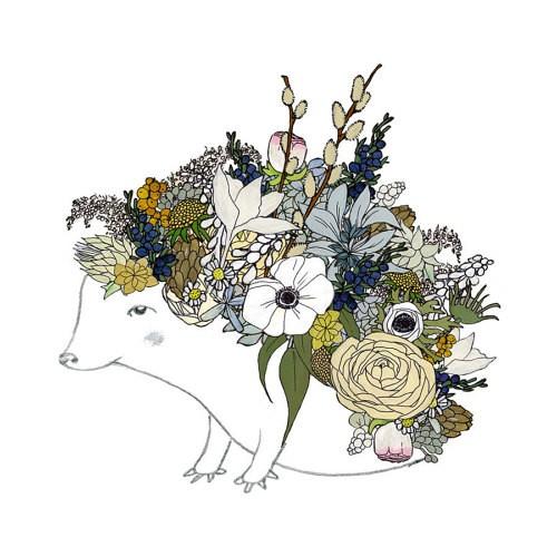 Outline hedgehog with multicolor floral back tattoo design