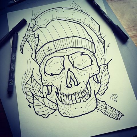 Outline hipster death on leaves background tattoo design