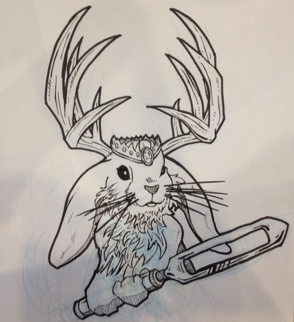 Outline horned crowned hare keeping a tool tattoo design