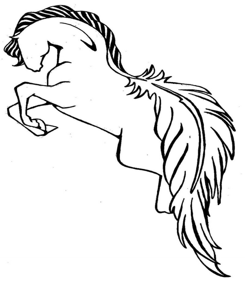 Outline jumping horse with feather tail tattoo design