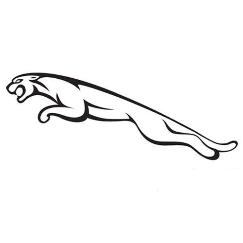 Outline jumping jaguar logo tattoo design