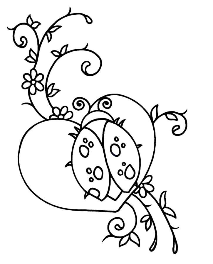 Outline ladybug with heart and swirly stems tattoo design
