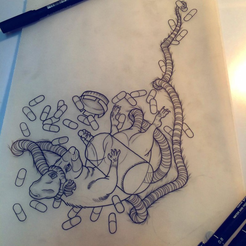 Outline long-tailed falling mouse with a lot of pills tattoo design