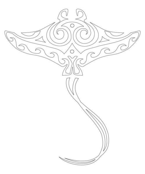 Outline maori stingray water animal tattoo design