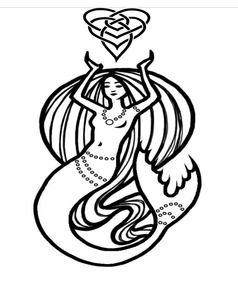 Outline mermaid with celtic symbol tattoo design by Alice Chan