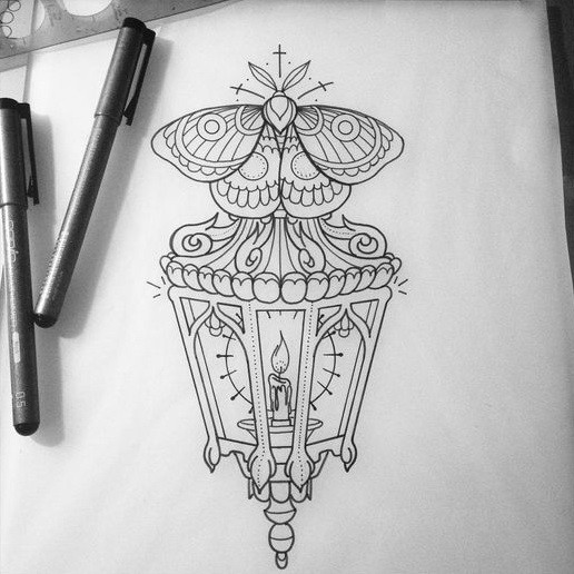 Outline moth over candle-shining street lamp tattoo design