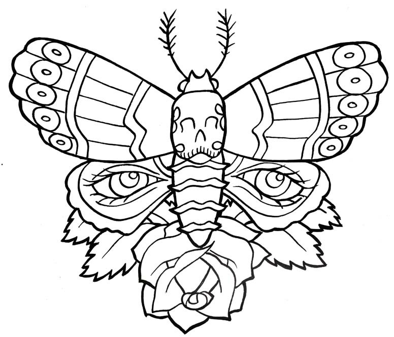 Tattoo Designs Outline: Outline Moth With Eye Print And Single Rose Flower Tattoo