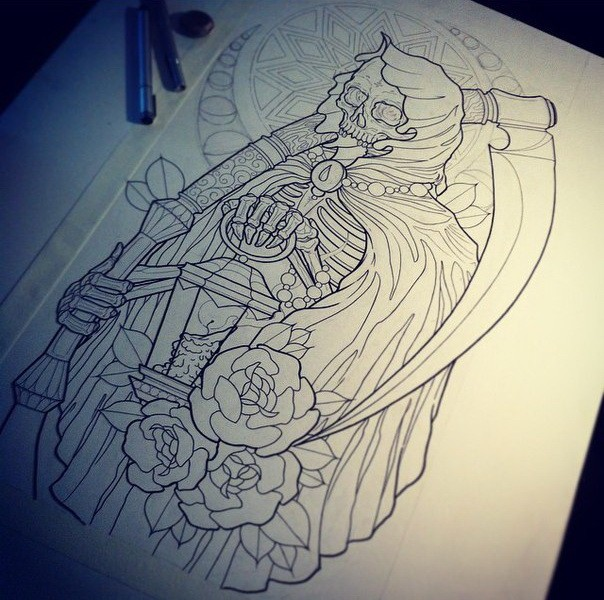 Outline new school death with a scythe and roses on mandala moon background tattoo design