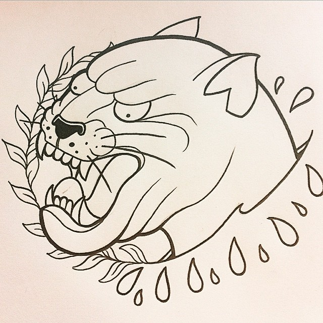 Outline panther head surrounded with drops and leaved branch tattoo design