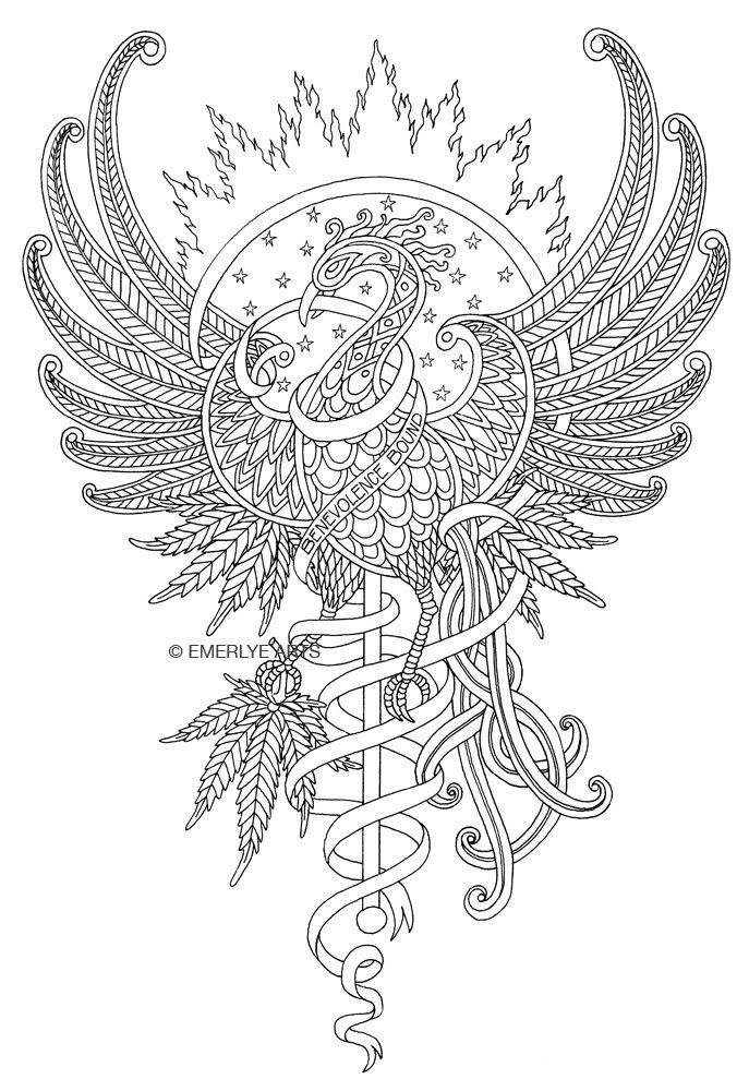 Outline pattrened phoenix on shining sun background tattoo design