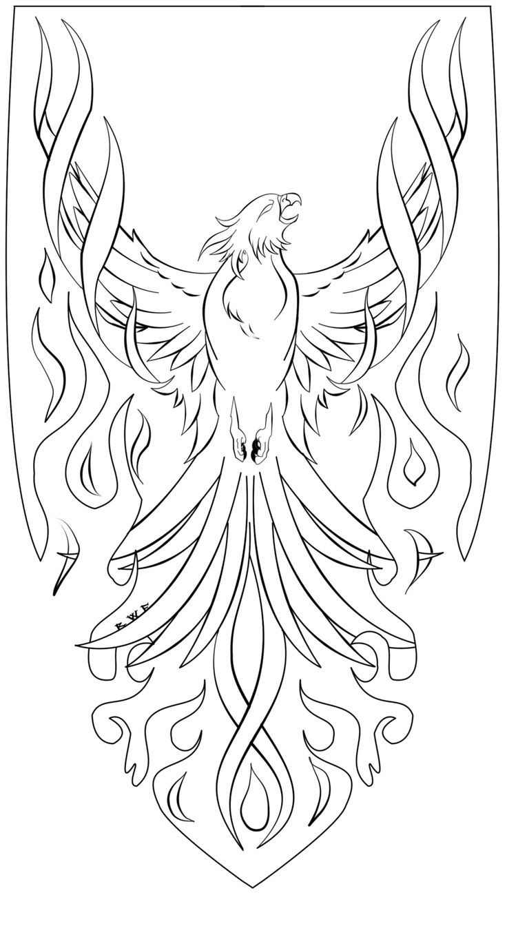 Outline phoenix burning in flame tattoo design