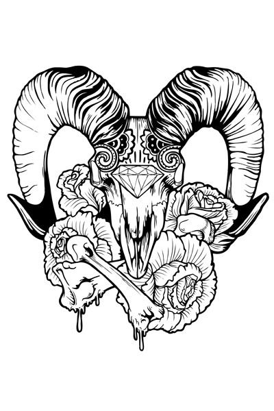 Outline ram skull with diamond print and roses tattoo design by Kittysdead