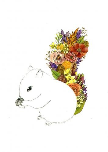 Outline rodent with bright colorful floral tail tattoo design
