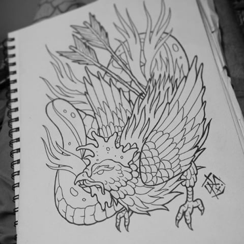 Outline rooster pierced with arrows and huge snake tattoo design