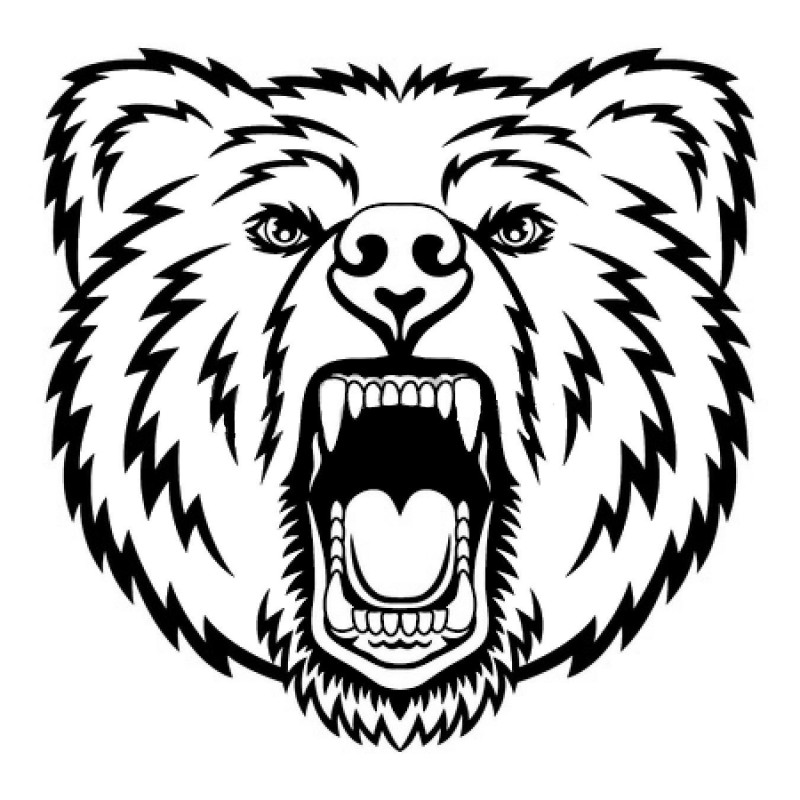 Outline screaming grizzly muzzle tattoo design