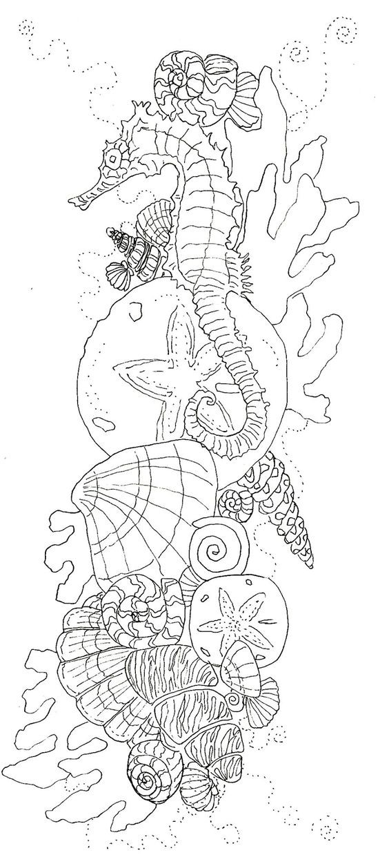 Outline seahorse among a lot of shells and weeds tattoo design
