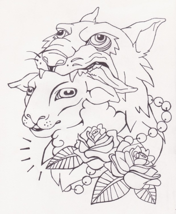 Outline sheep in wolf clothing with roses by Schatz