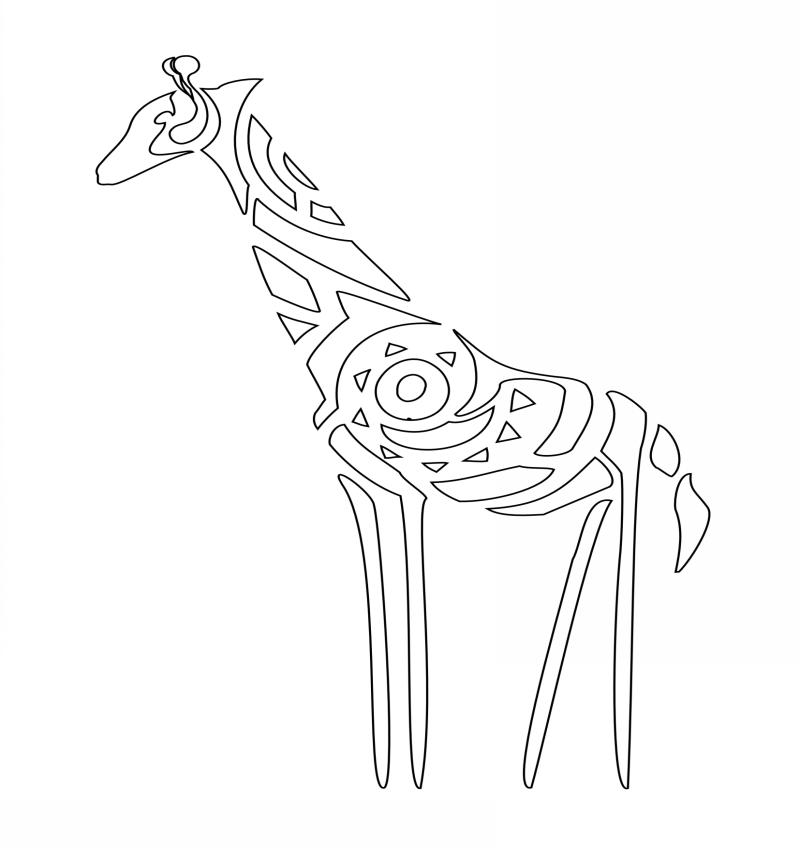 45066b74866f9 Outline tribal giraffe tattoo design - Tattooimages.biz