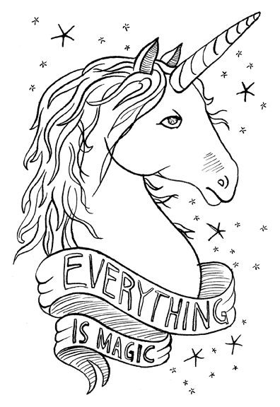 Outline unicorn portrait with stars and big banner tattoo design