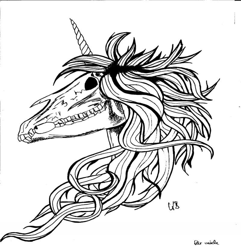 Outline unicorn skull with long mane tattoo design