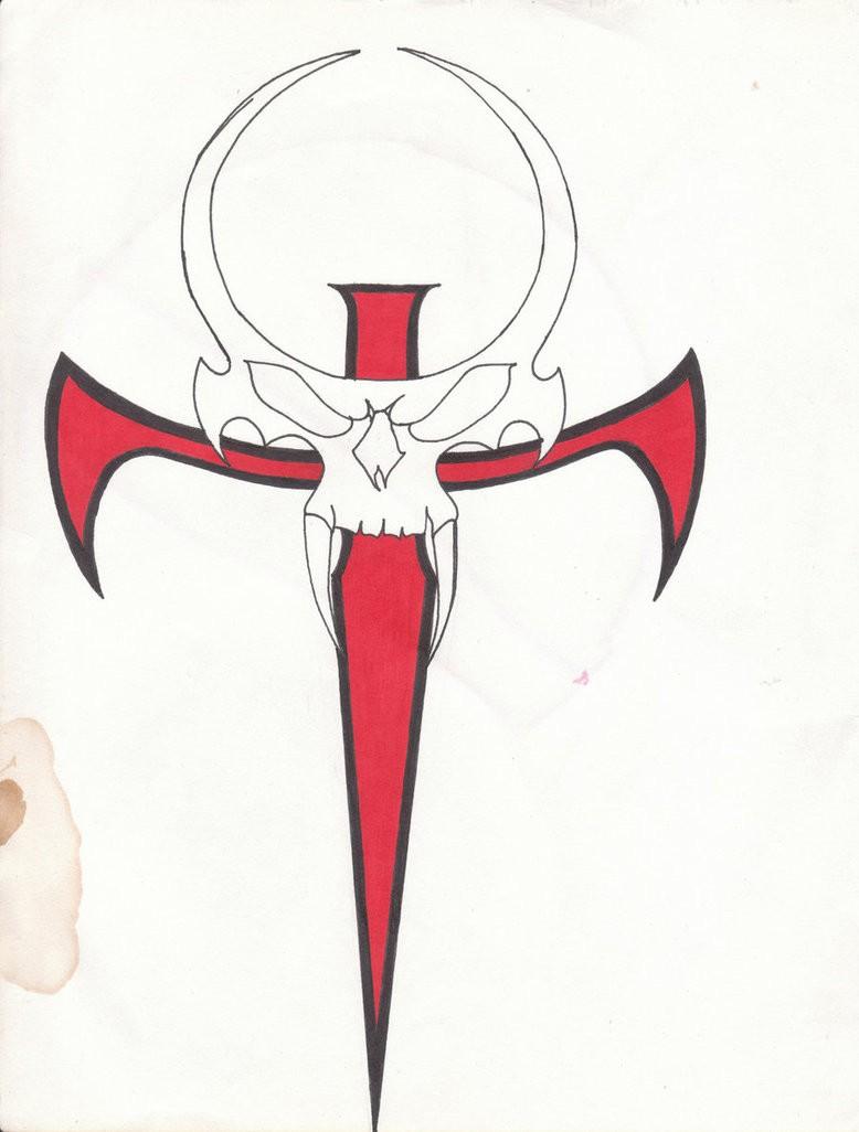 Outline vampire skull with red ankh cross tattoo design