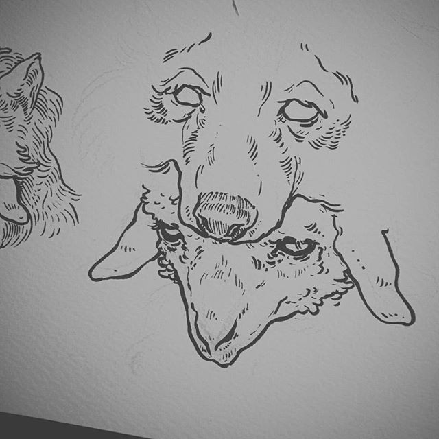 Outline wolf and sheep head silhouettes tattoo design