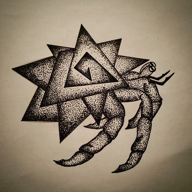 Outstanding dotwork hermit crab with geometric star-shaped shell tattoo design