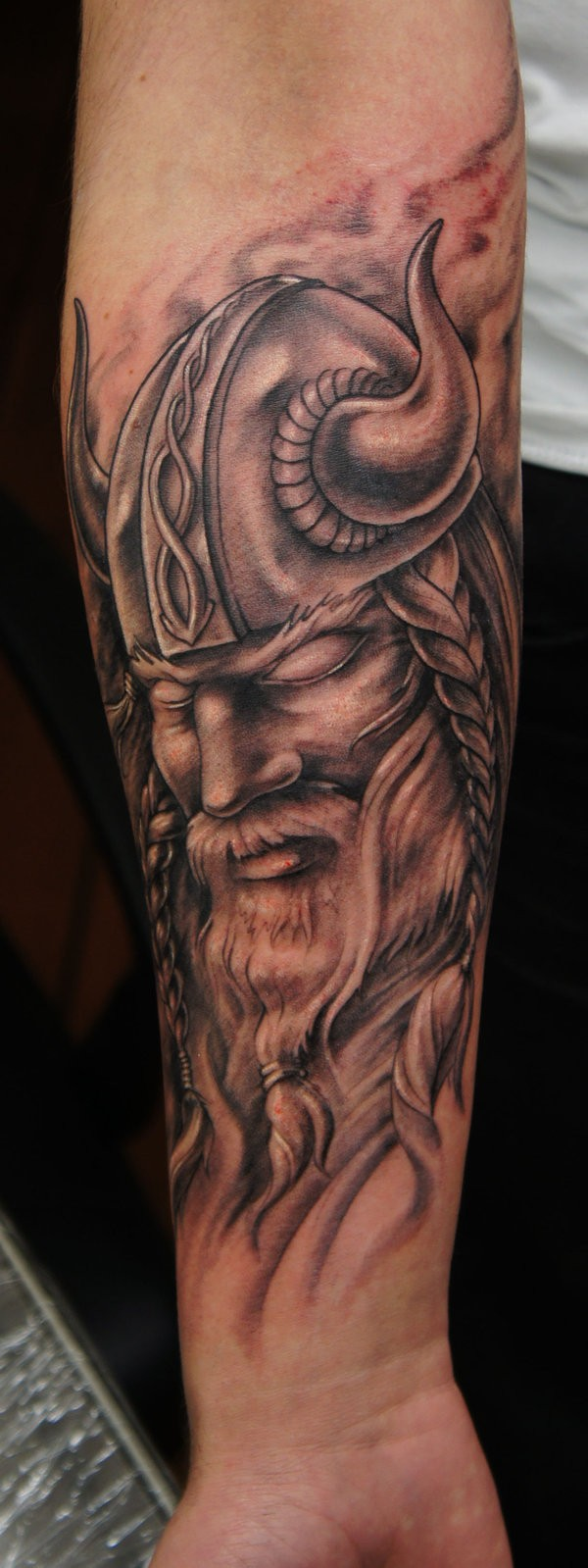 pacified viking warrior tattoo on forearm. Black Bedroom Furniture Sets. Home Design Ideas