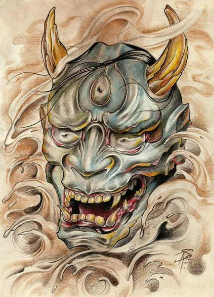 Pale blue-skin devil with the third eye in smoky background tattoo design