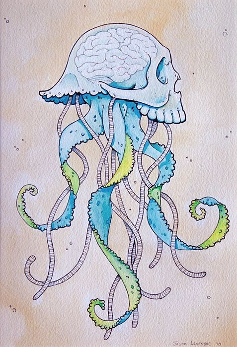 Pale blue jellyfish with skull brained head tattoo design